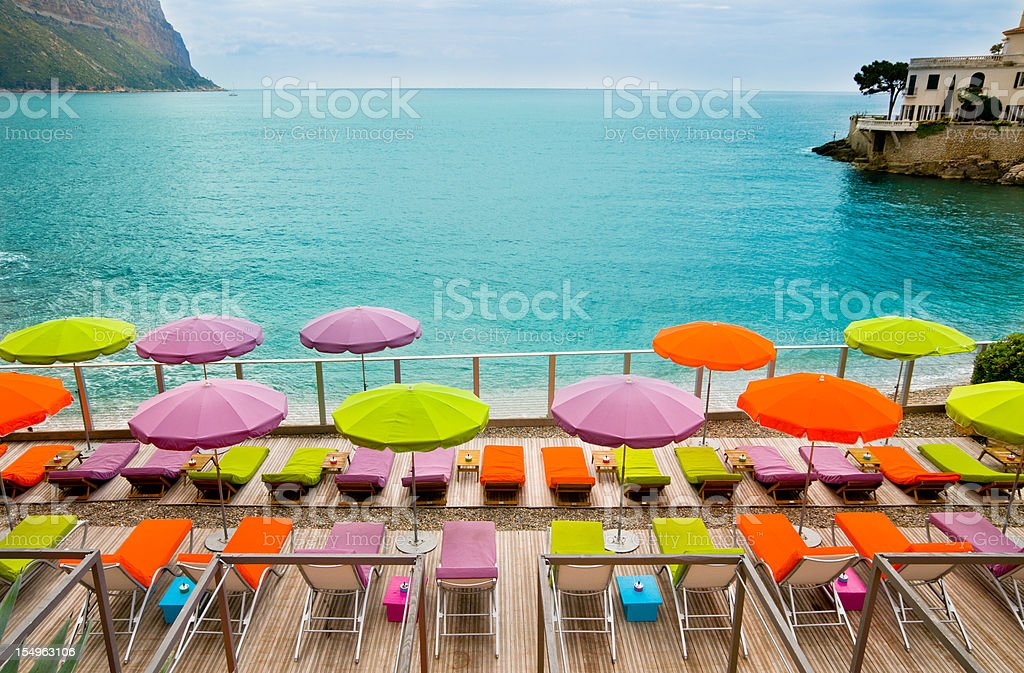 Beach with Parasol in Cassis, France stock photo