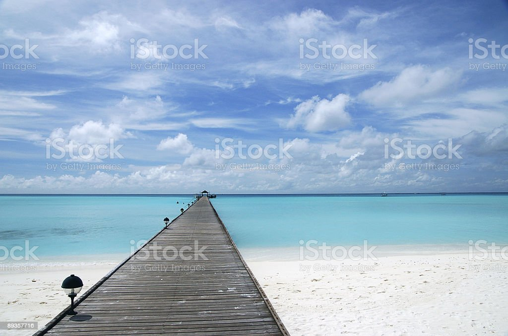 Beach with Pier royalty-free stock photo