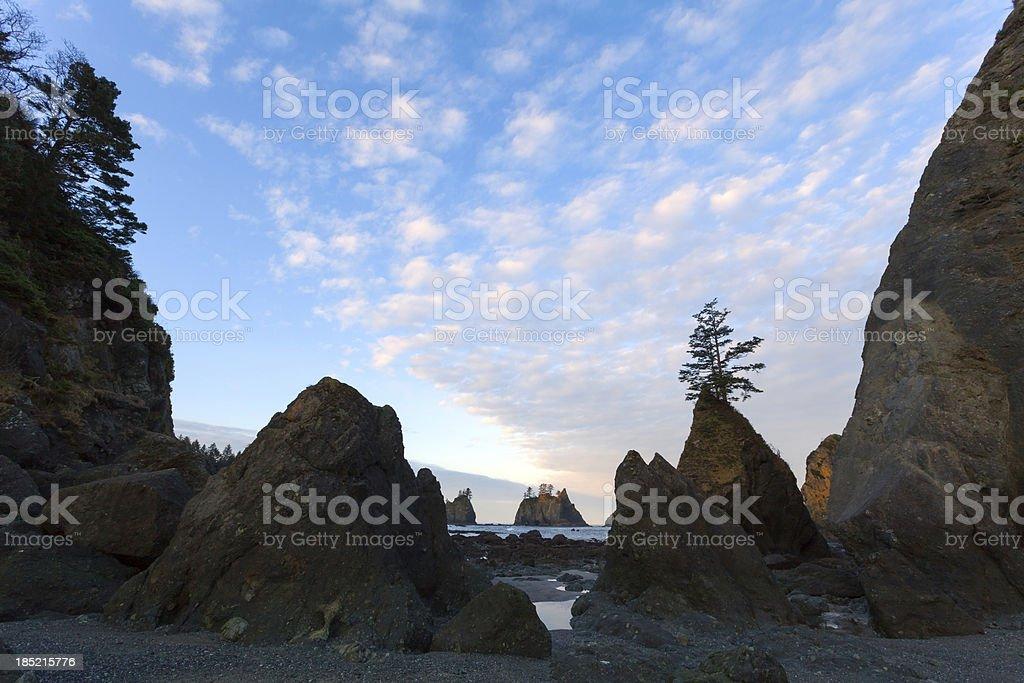 Beach with Sea Stacks stock photo