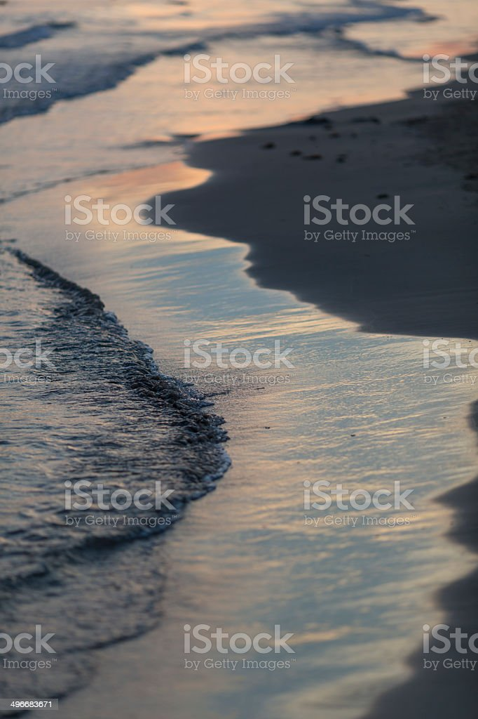 Beach with sunset stock photo