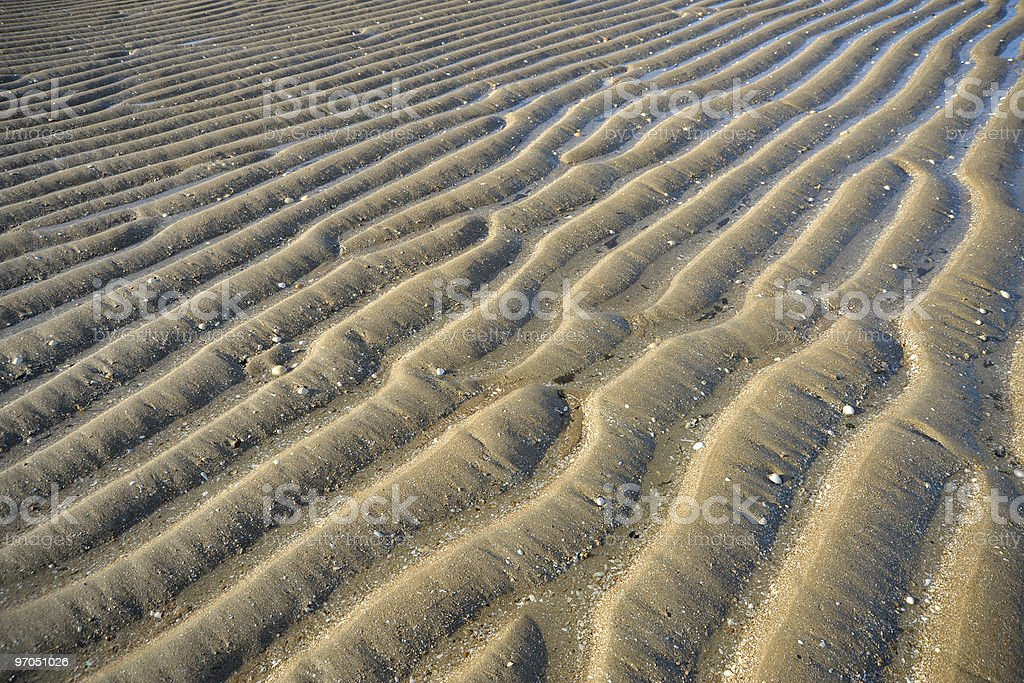 Beach with textured sand stock photo