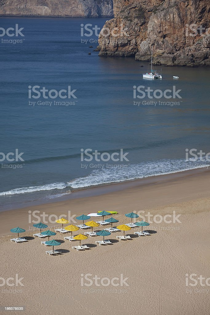 Beach with umbrellas and chairs. royalty-free stock photo