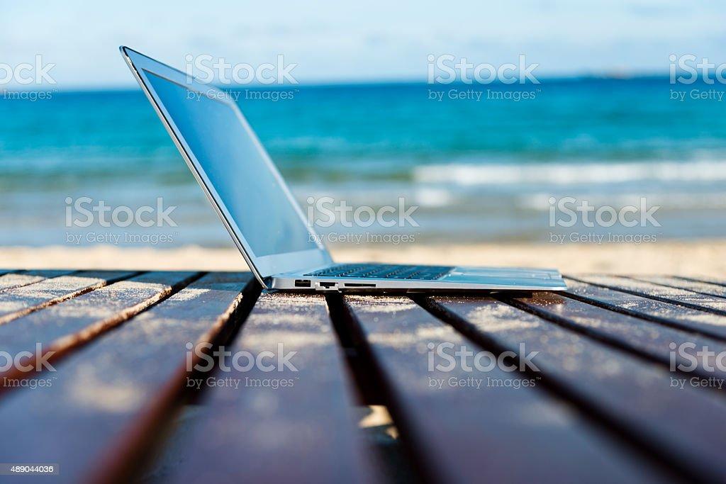 beach work stock photo