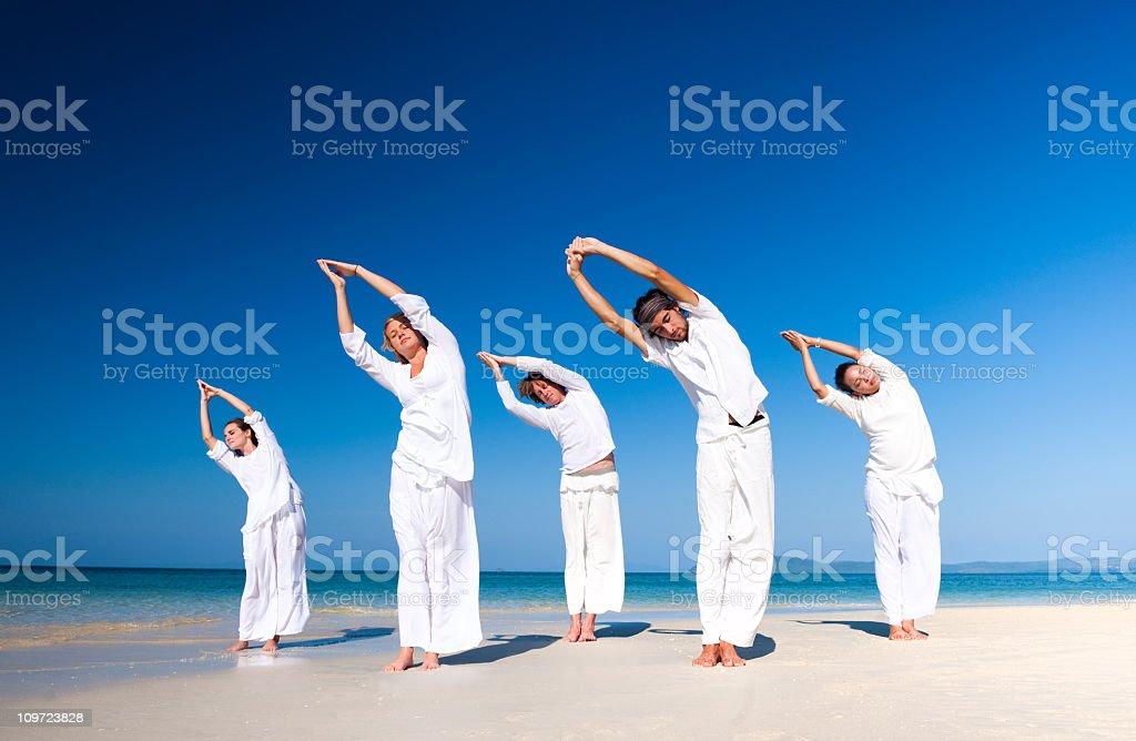 Beach Yoga Class royalty-free stock photo