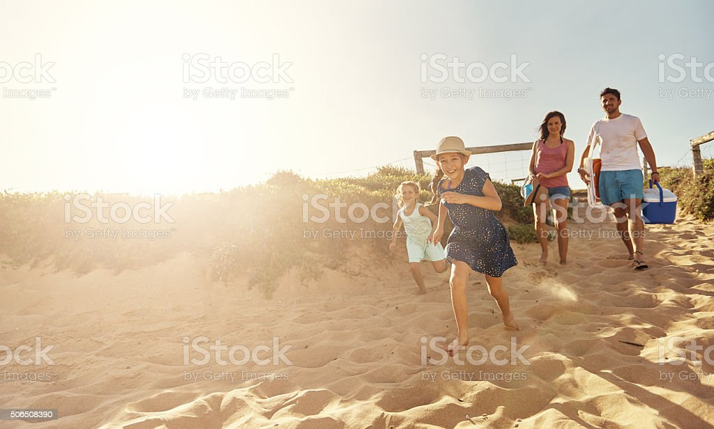 Beach your children well stock photo
