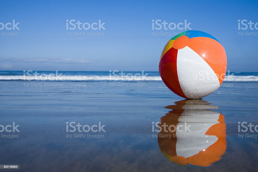 Beachball on the Beach stock photo