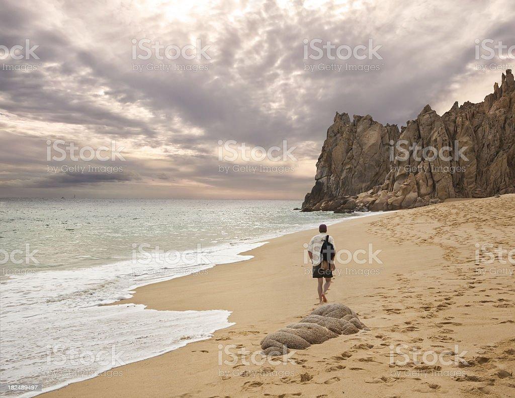 Beachcomber at Lover's Beach, Cabo San Lucas royalty-free stock photo