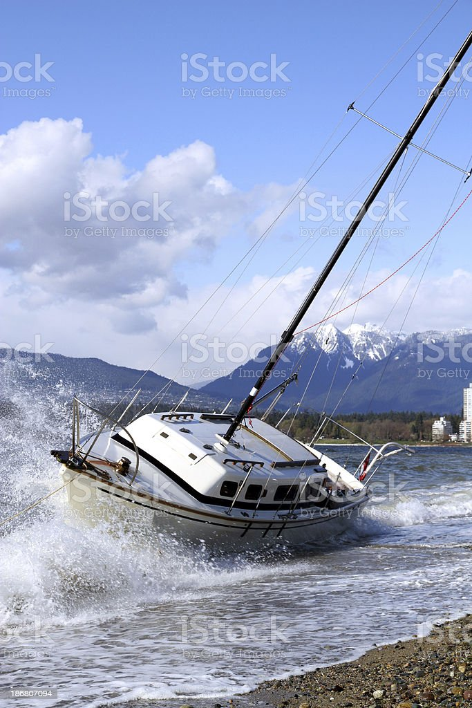 Beached and Breaking royalty-free stock photo