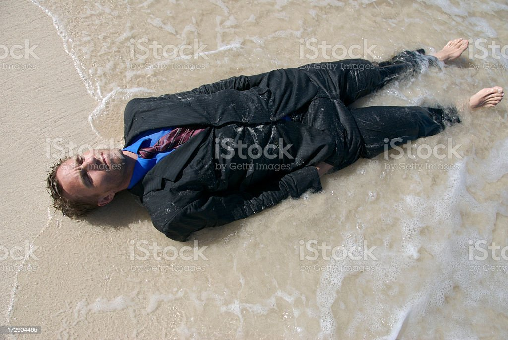 Beached Businessman Full-Length royalty-free stock photo