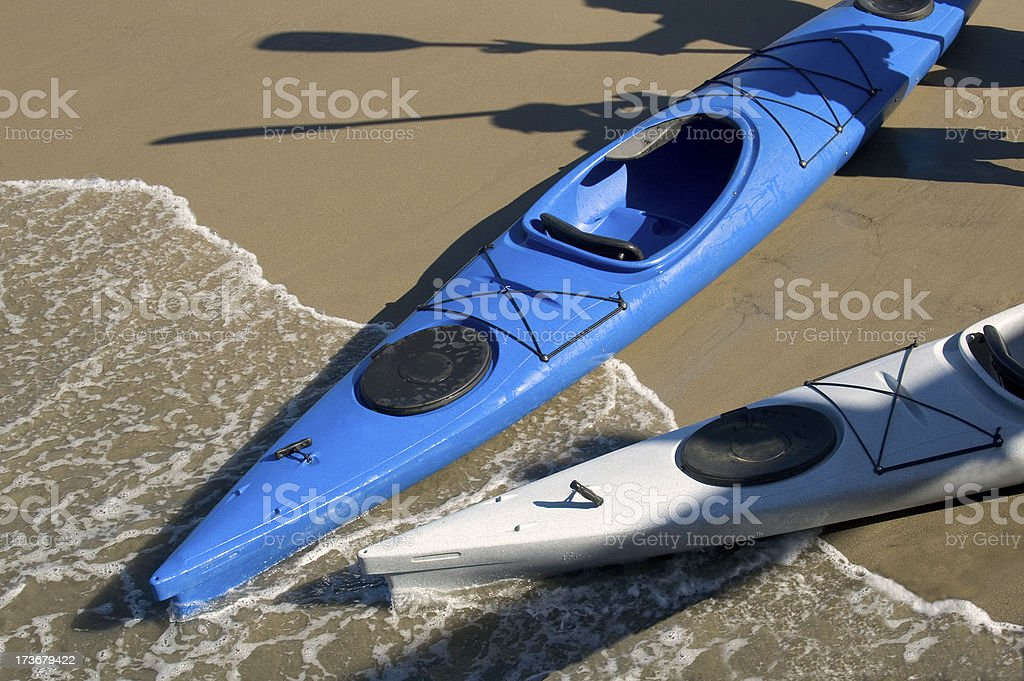 Beached Kayaks royalty-free stock photo