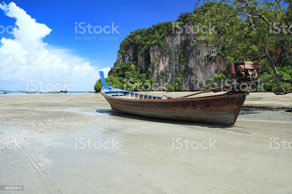 Beached long tail boat at Phra Nang Beach royalty-free stock photo