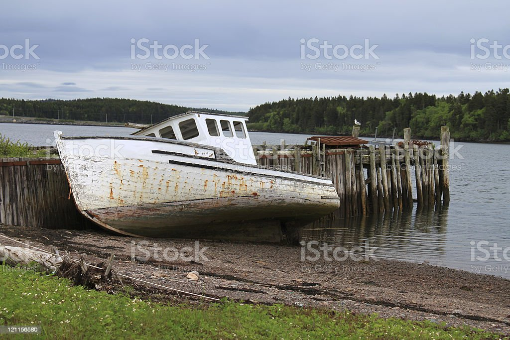 Beached Maritime fishing boat royalty-free stock photo