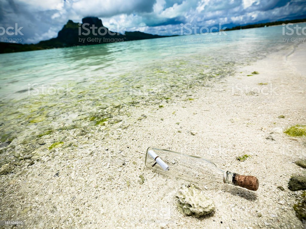 Beached Message in a Bottle royalty-free stock photo