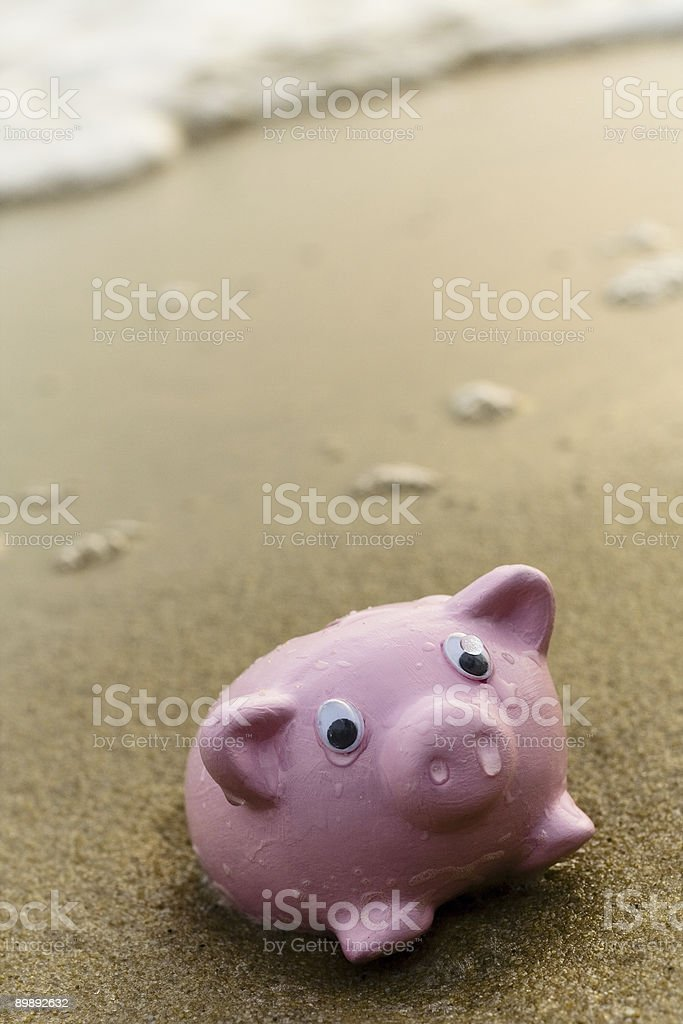 Beached Piggy Bank- Series royalty-free stock photo