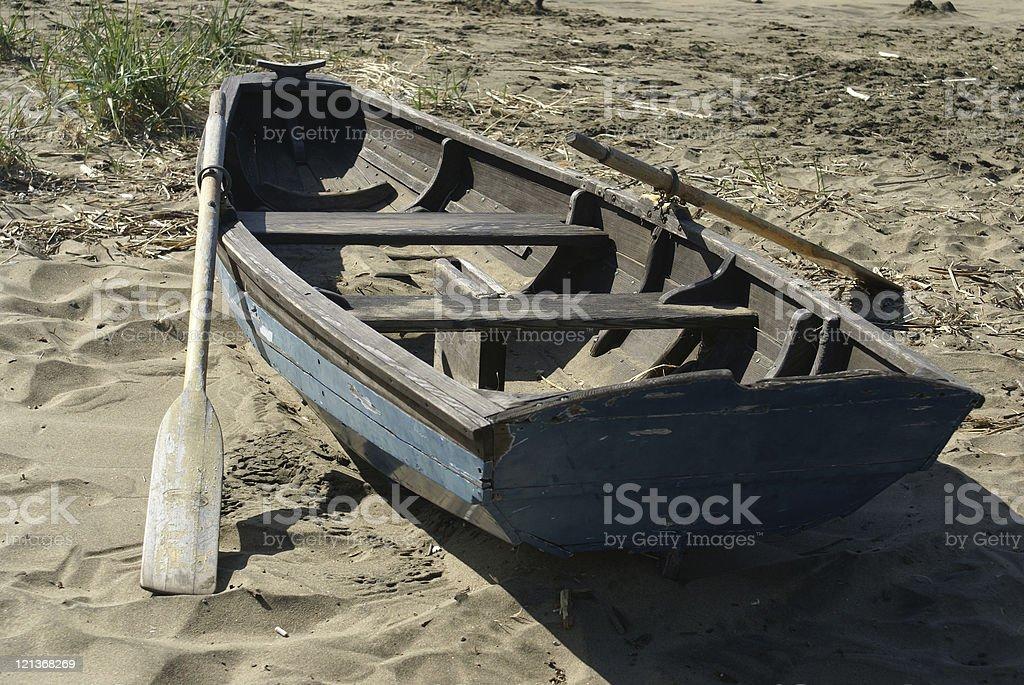 Beached Rowboat stock photo