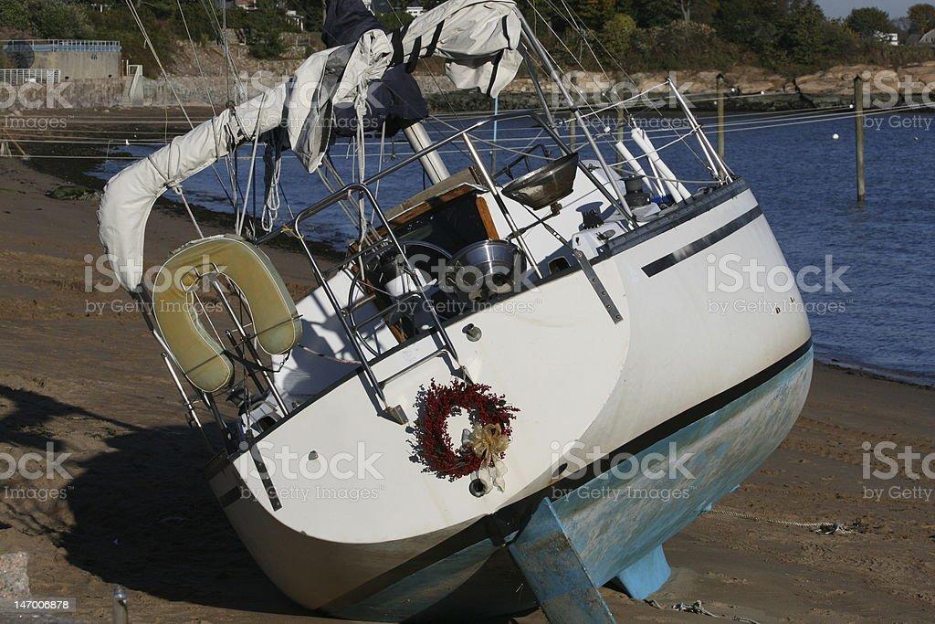 Beached Sailboat royalty-free stock photo