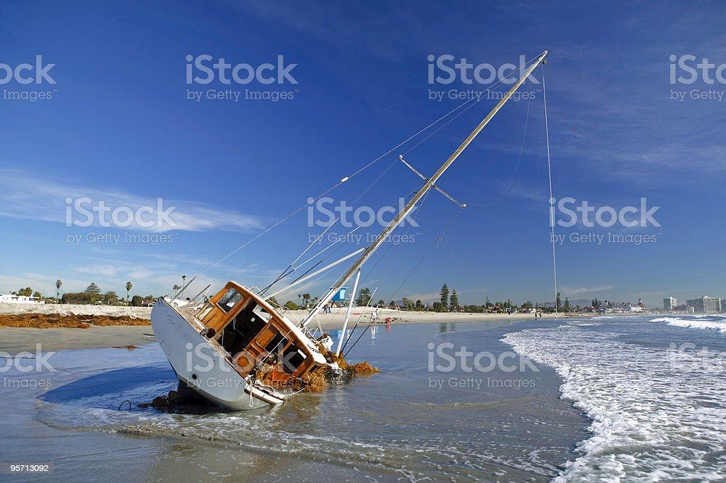 Beached Sailboat stock photo