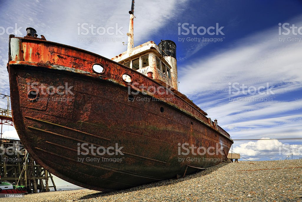 Beached Ship in Patagonia royalty-free stock photo