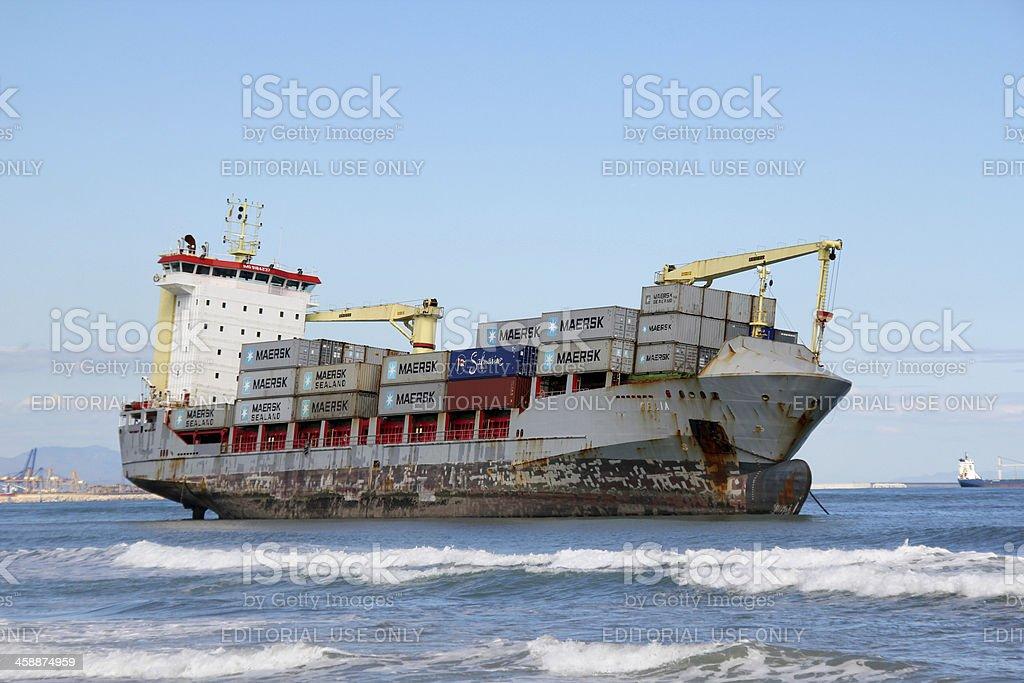Beached ship stock photo