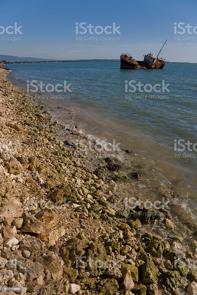 Beached Shipwreck royalty-free stock photo