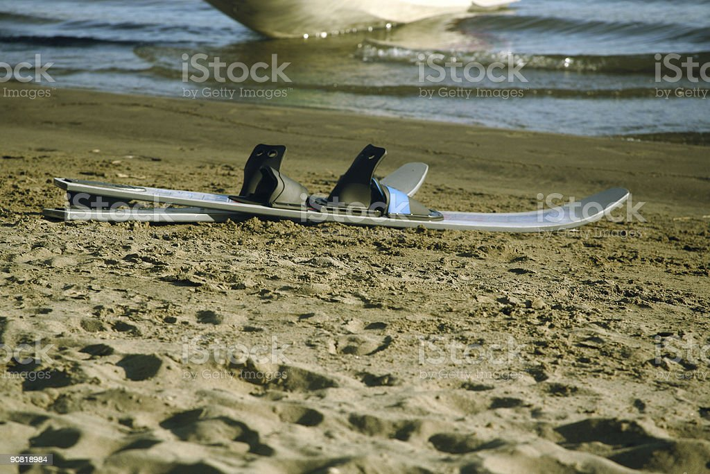 beached skis royalty-free stock photo