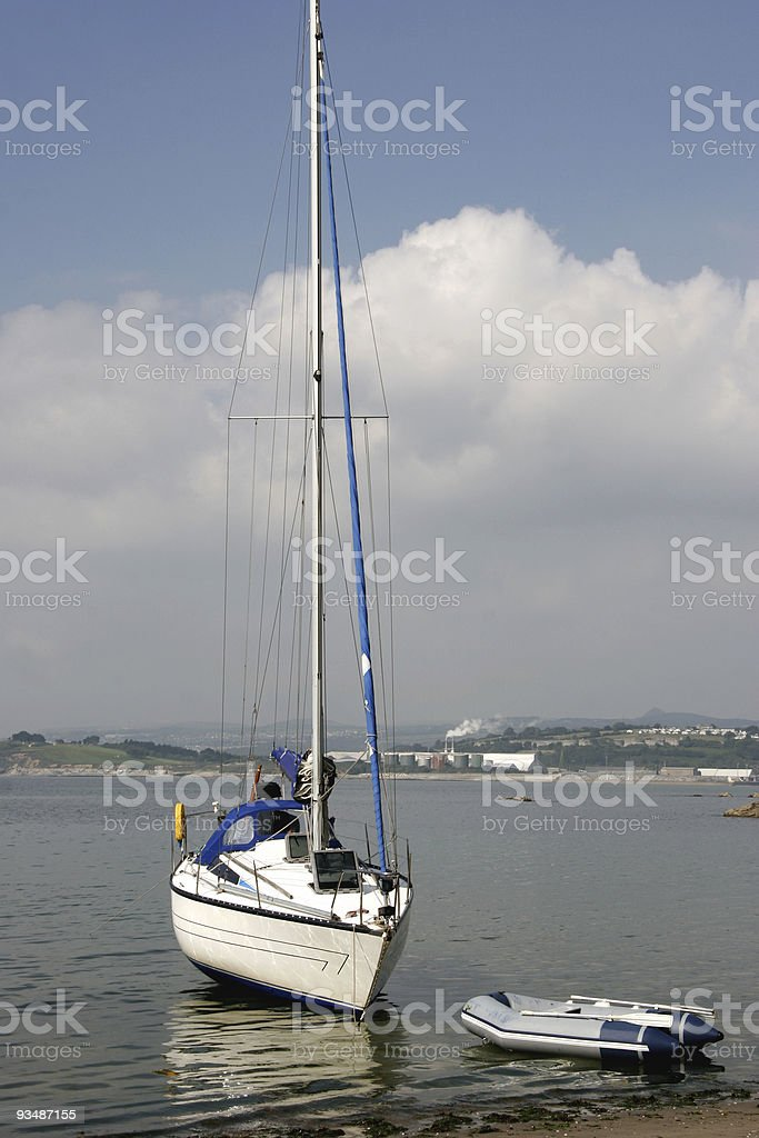 Beached yacht royalty-free stock photo