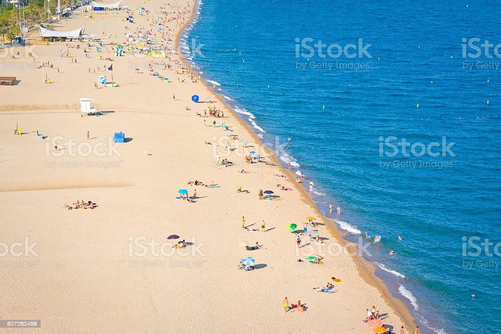 Beaches, coast in Calella. Catalonia. Spain stock photo