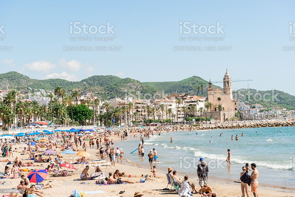 Beaches in Sitges, Spain stock photo