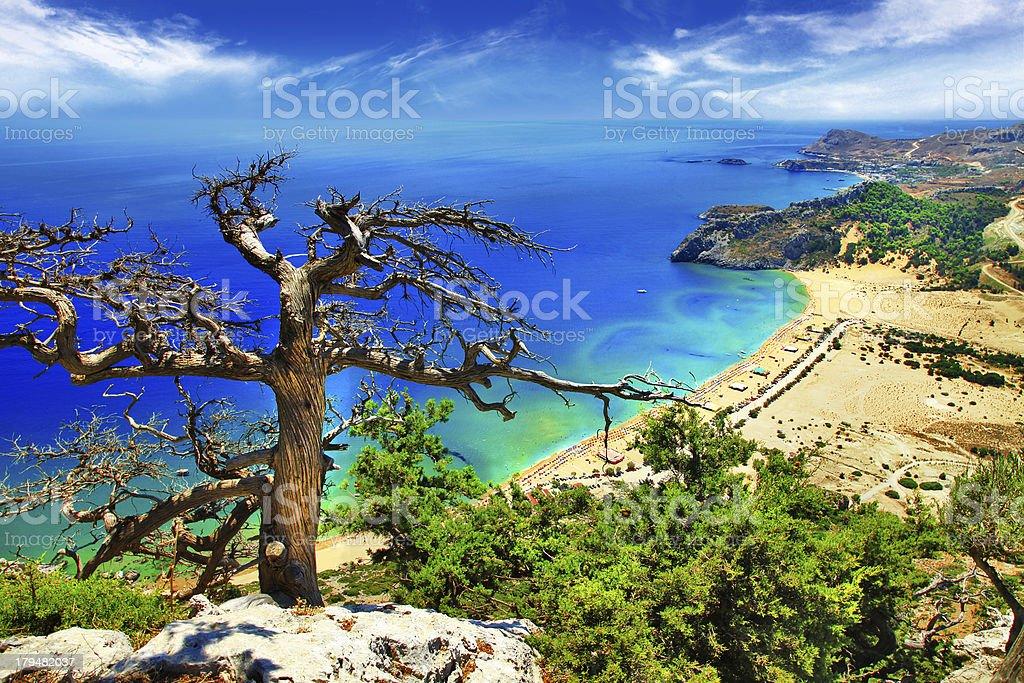 beaches of Rhodes stock photo