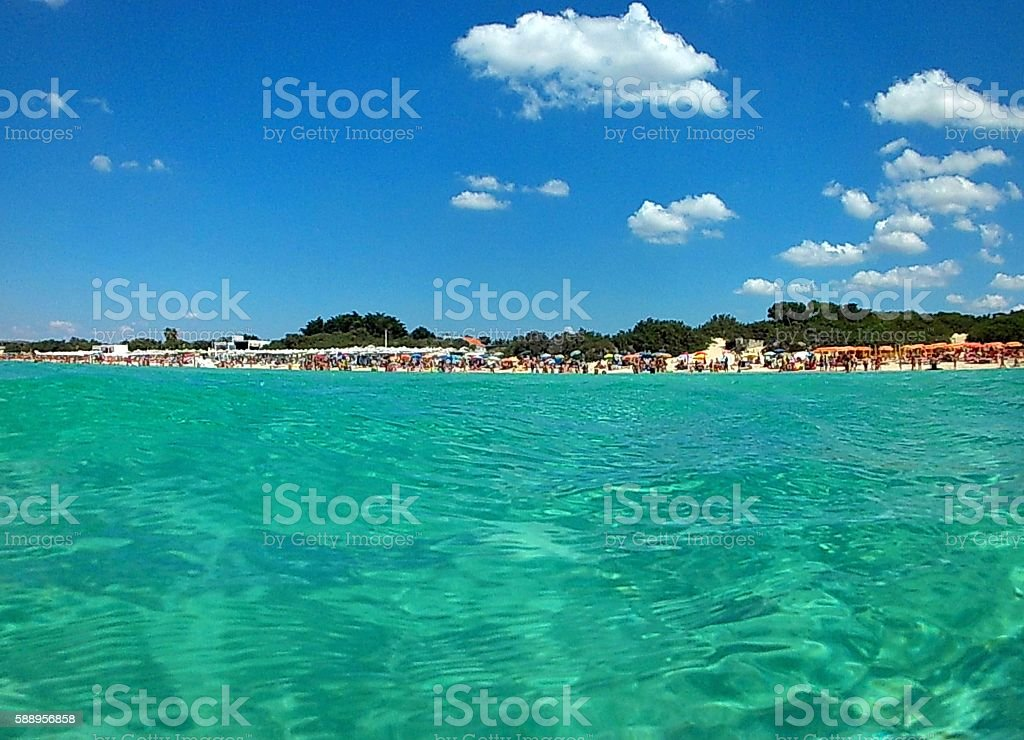 Spiagge di Torre Lapillo dal mare stock photo