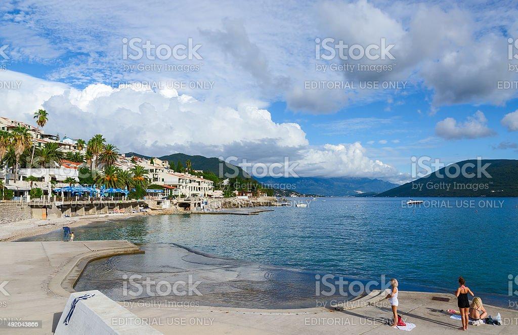 Beaches on the waterfront in Herceg Novi, Montenegro stock photo