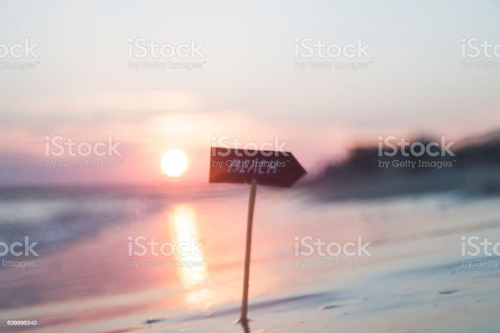beaches resorts idea, sunset, blurred photo for background stock photo