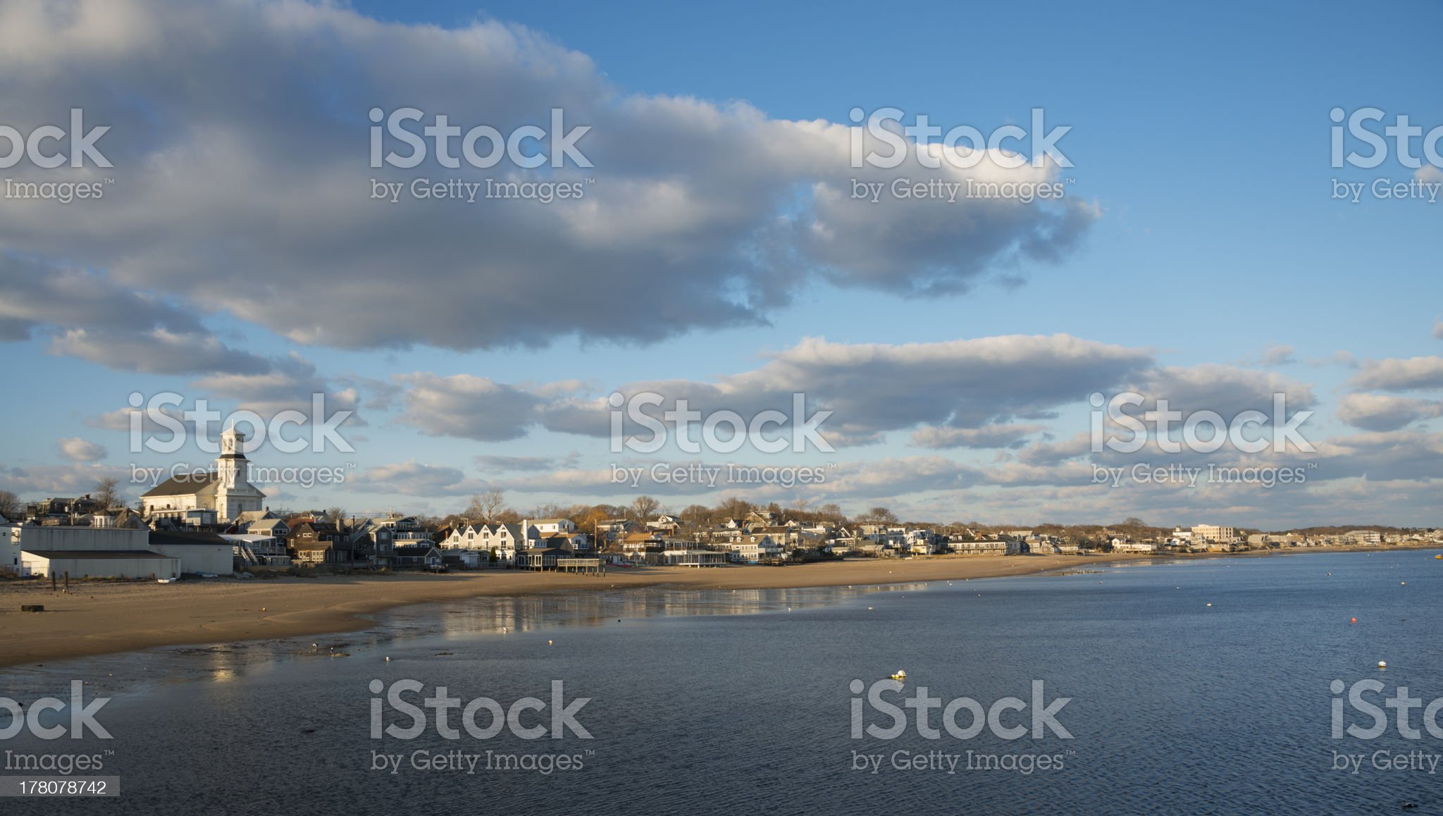 Beachfront and houses in Provincetown, Cape Cod royalty-free stock photo