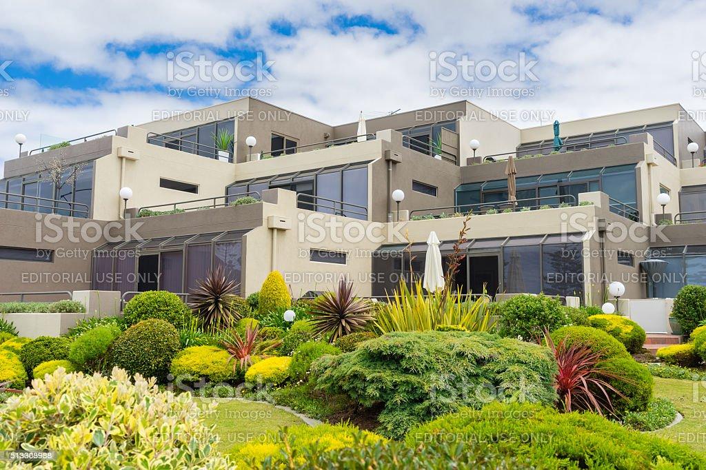 Beachfront apartments along the Great Ocean Road, Australia stock photo
