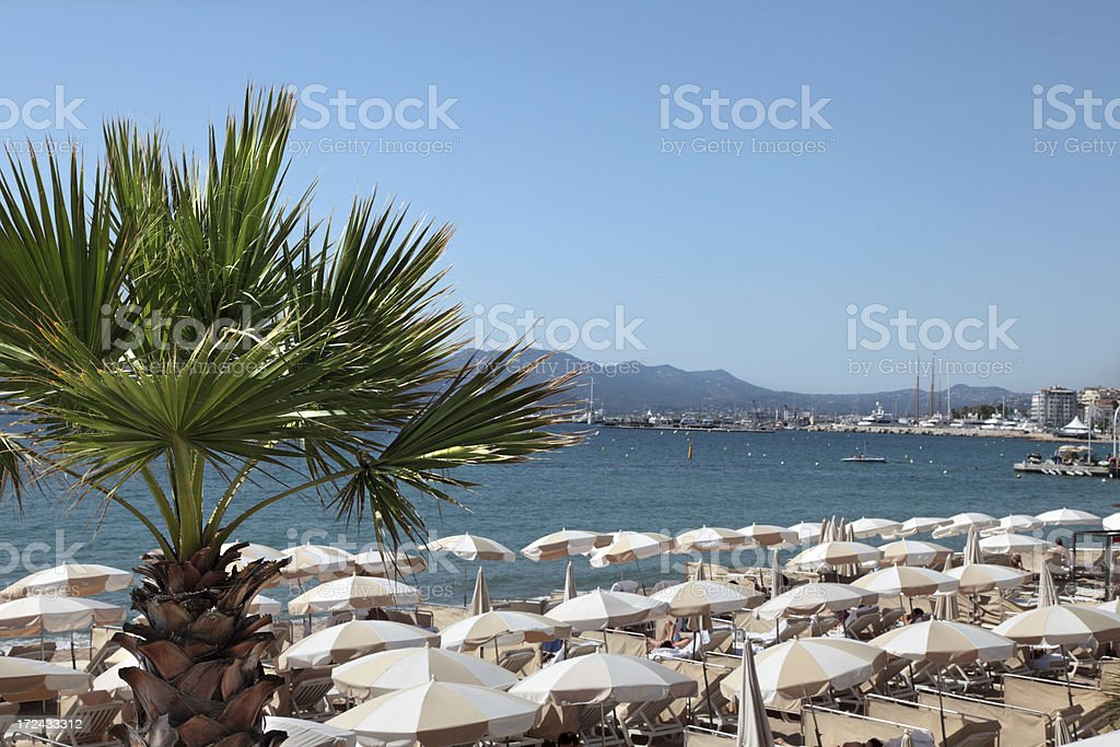Beachfront at Cannes royalty-free stock photo