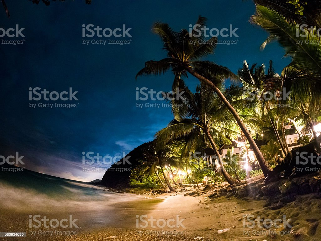 Beachfront at night in Ko Samet, Thailand stock photo