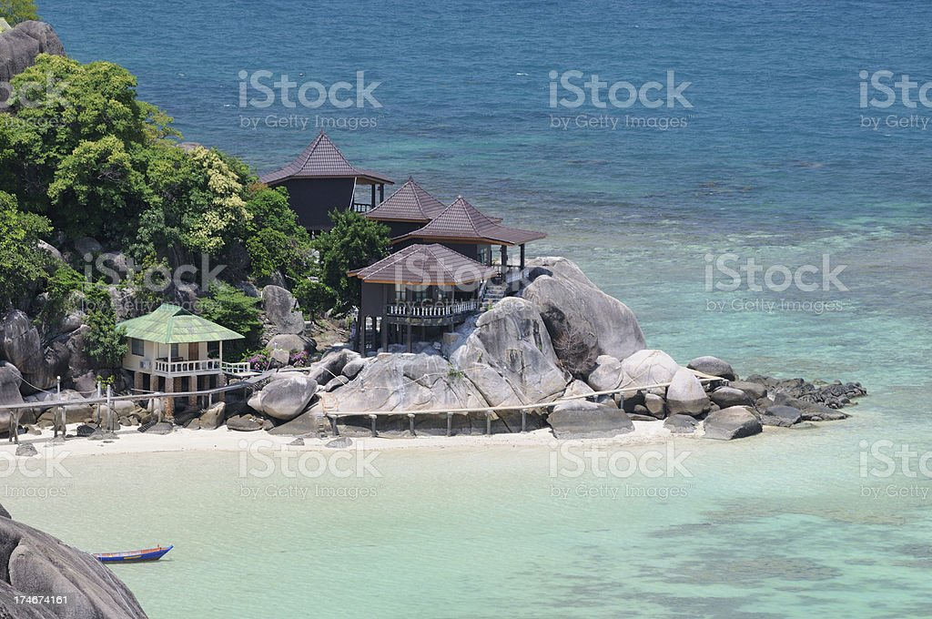Beachfront Bungalows in Paradise royalty-free stock photo