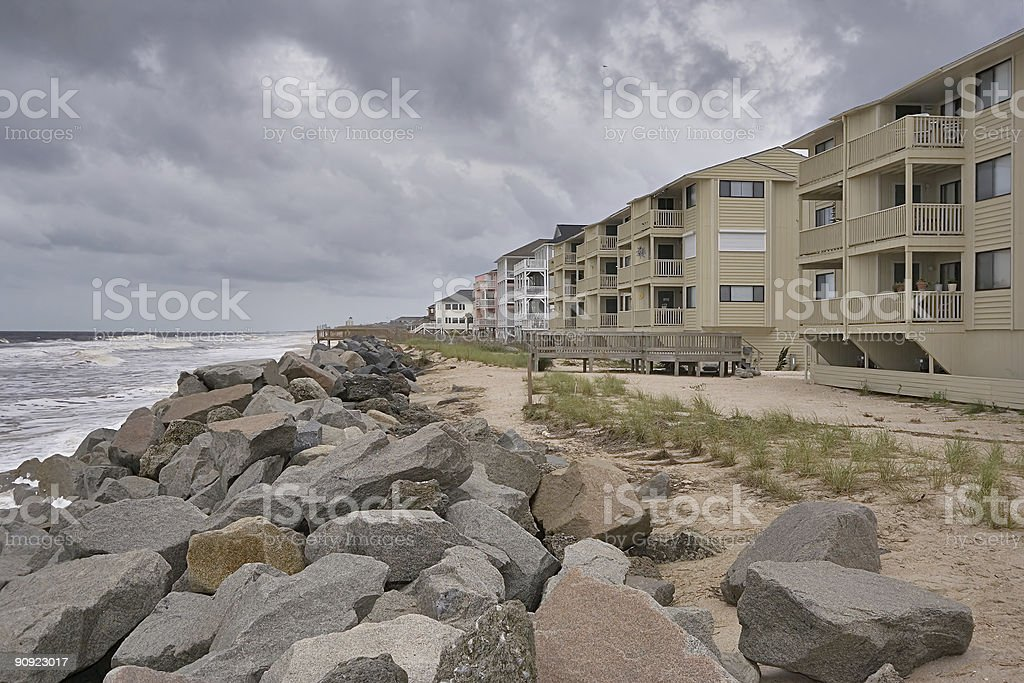 Beachfront condos stock photo