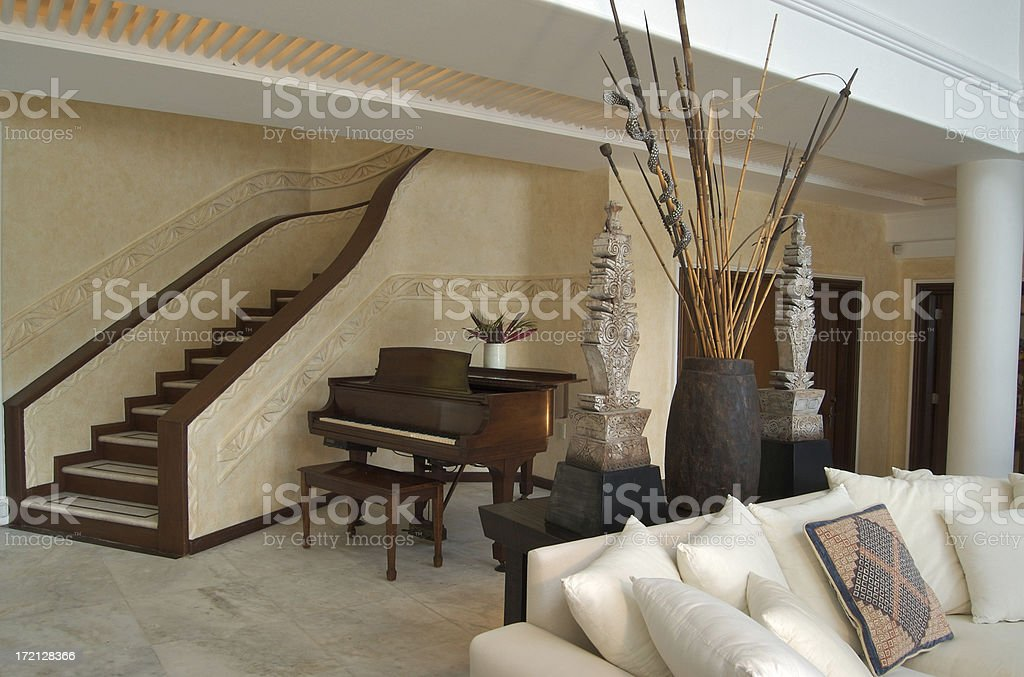 Beachfront home interior living room royalty-free stock photo