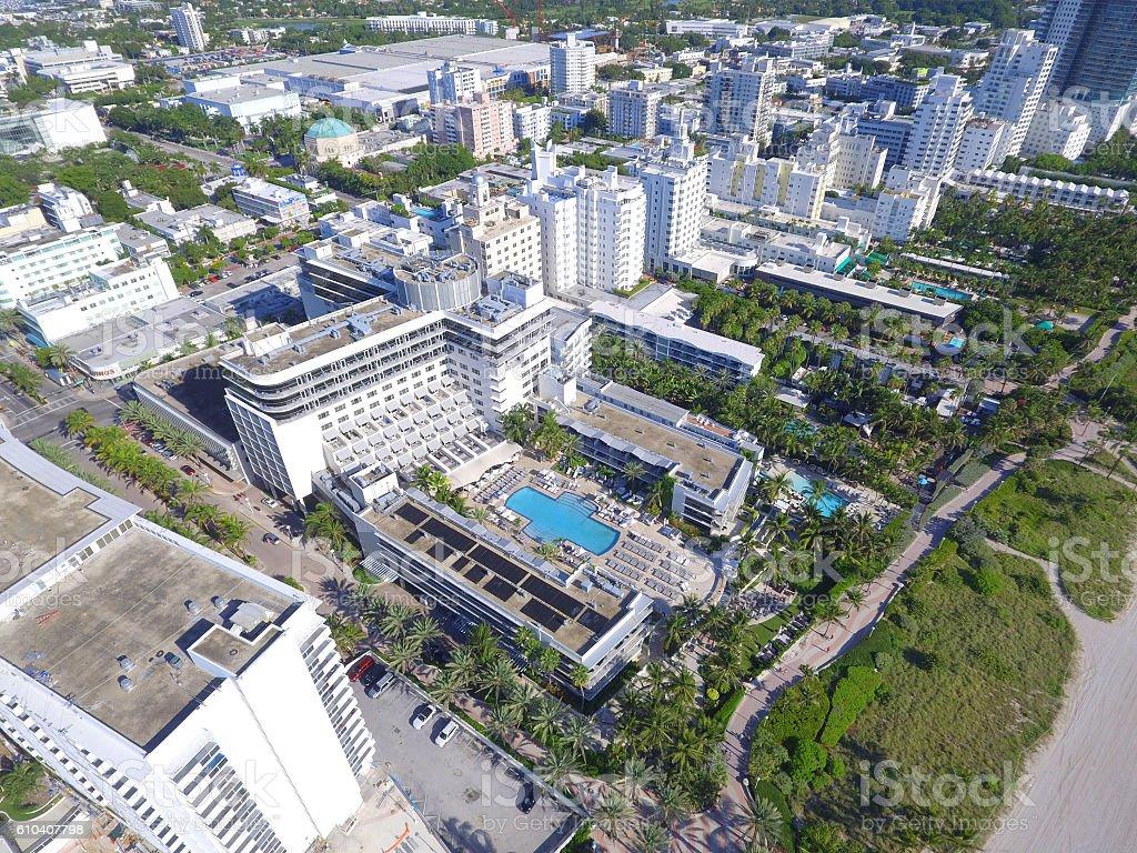 Beachfront hotels Miami Beach stock photo