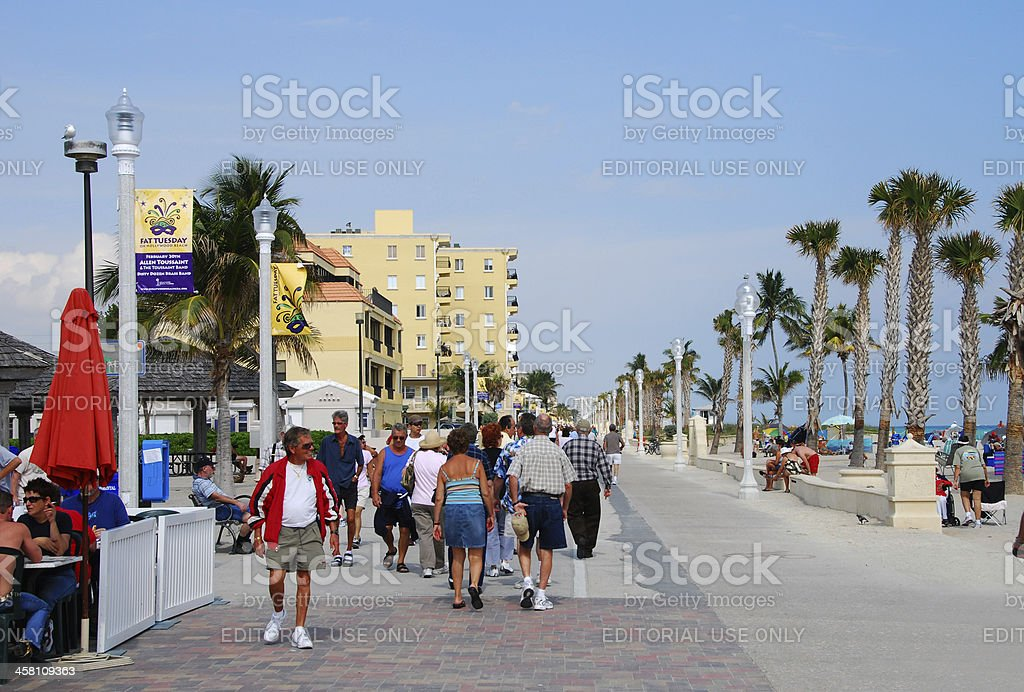 Beachfront promenade in Hollywood, Florida stock photo