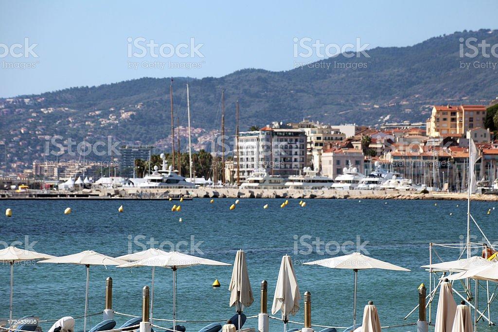 Beachfront with parasols royalty-free stock photo