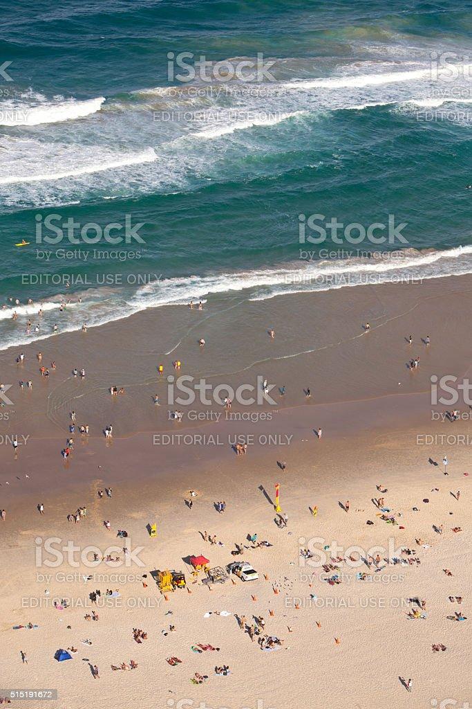 Beachgoers at Surfers Paradise Gold Coast Queensland Australia stock photo