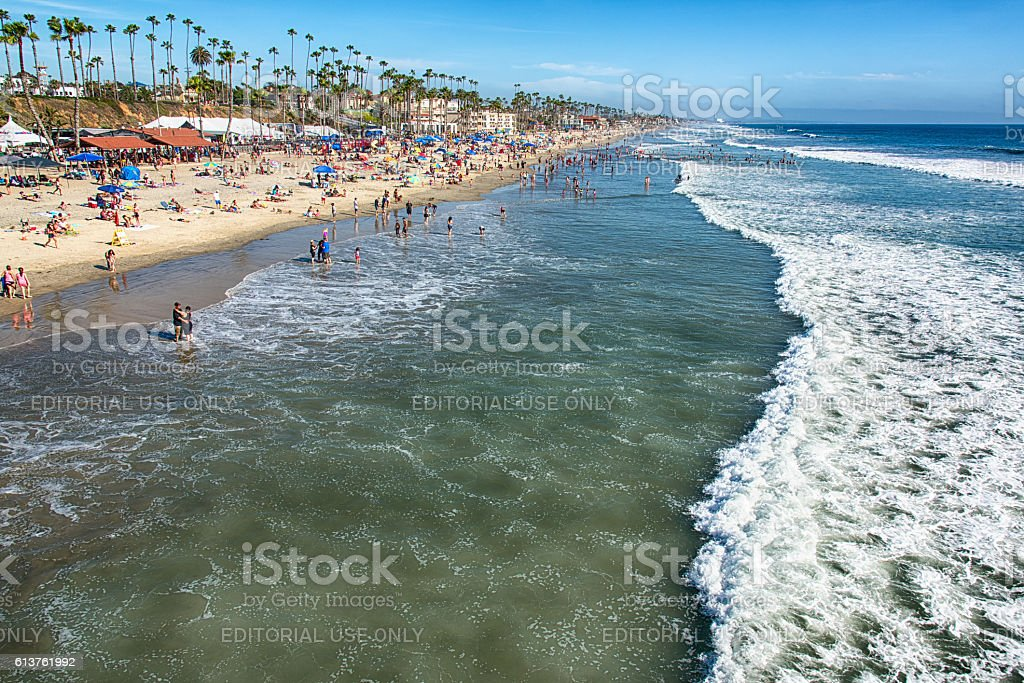 Beachgoers In Southern California stock photo