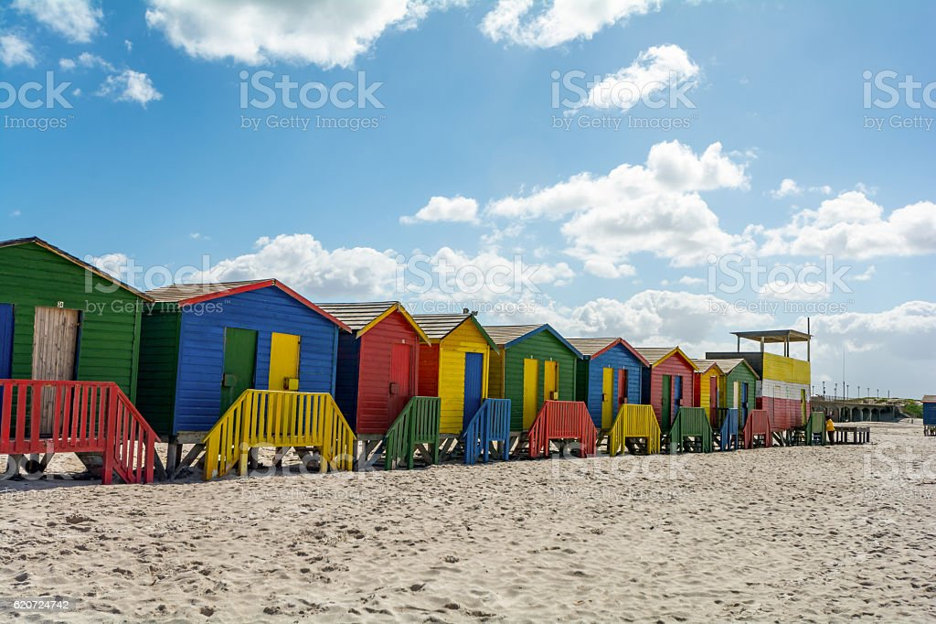 Beachhouses at Muizenberg Beach, Cape Town, South Africa stock photo