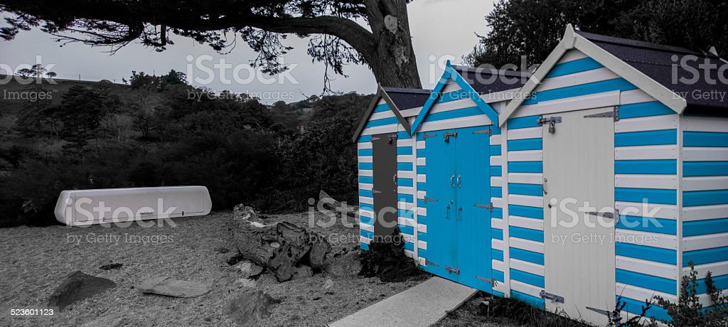 Beachs shacks Devon stock photo