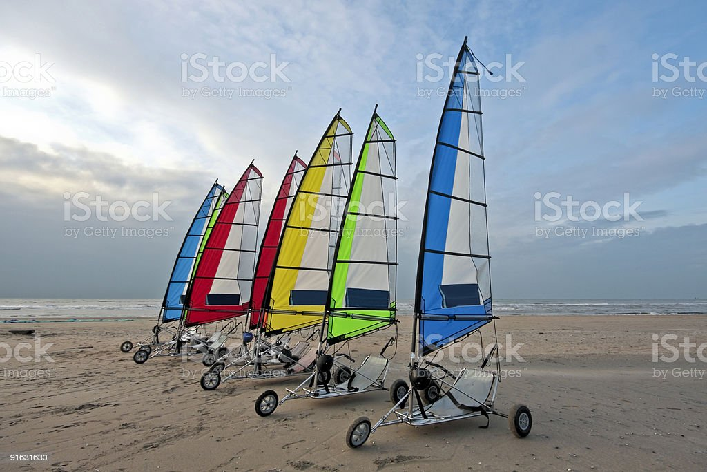 Beachsailing at the dutch coast in  Netherlands stock photo