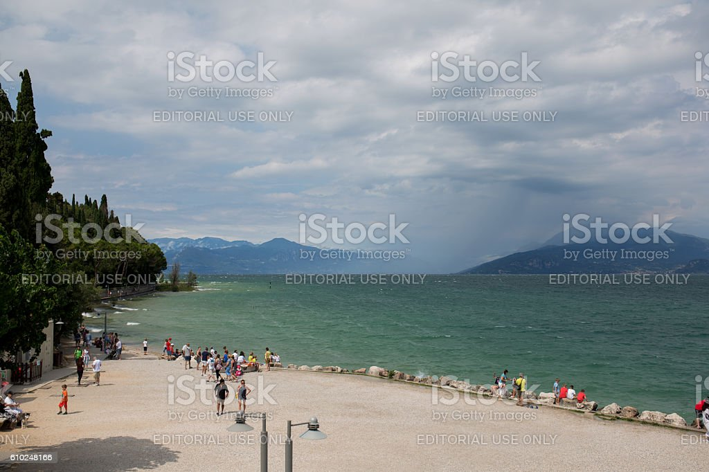 Beachside Sirmione in Italy stock photo