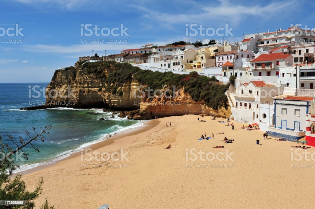 Beachside view of Carvoeiro in the Algave region of Portugal stock photo