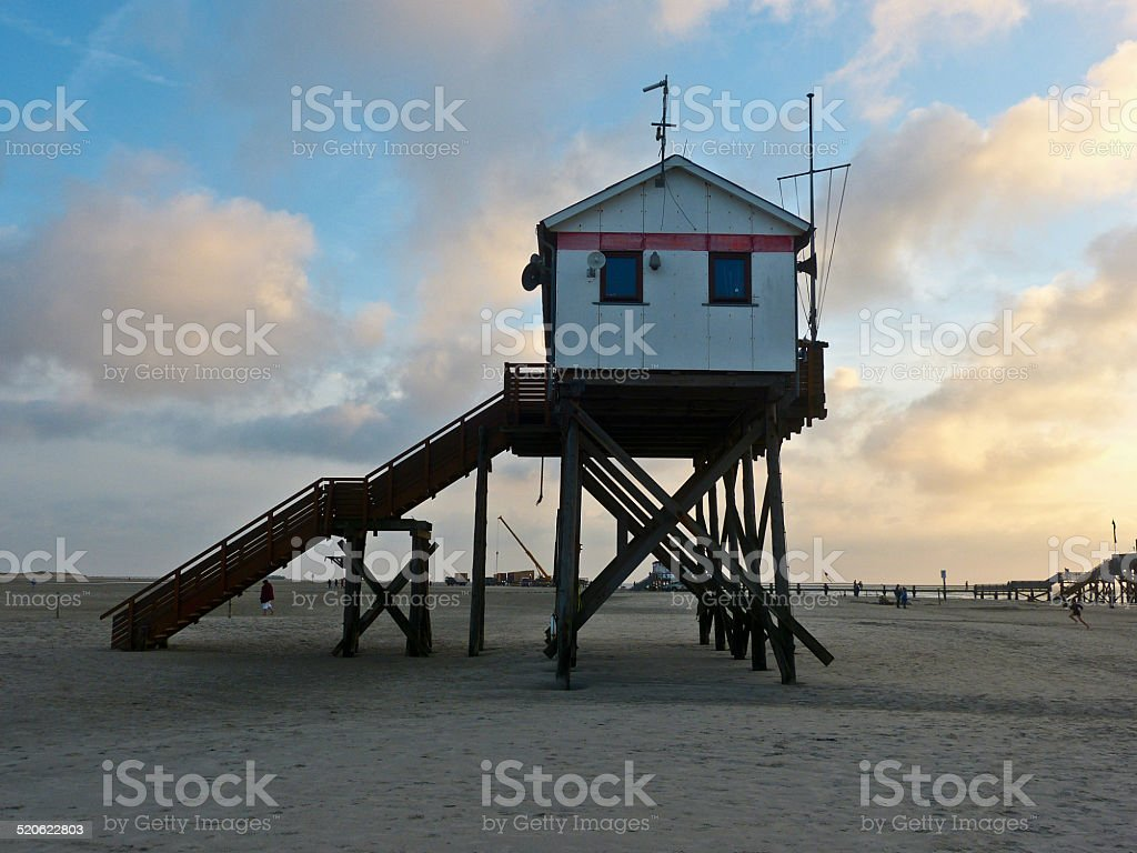 Beach-supervision of Sankt Peter Ording stock photo